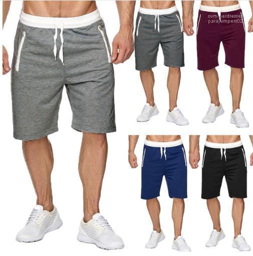 Longueur du genou coton taille élastique Jogger Pantalones Summer Beach Shorts Hommes Vêtements de sport Half Shorts
