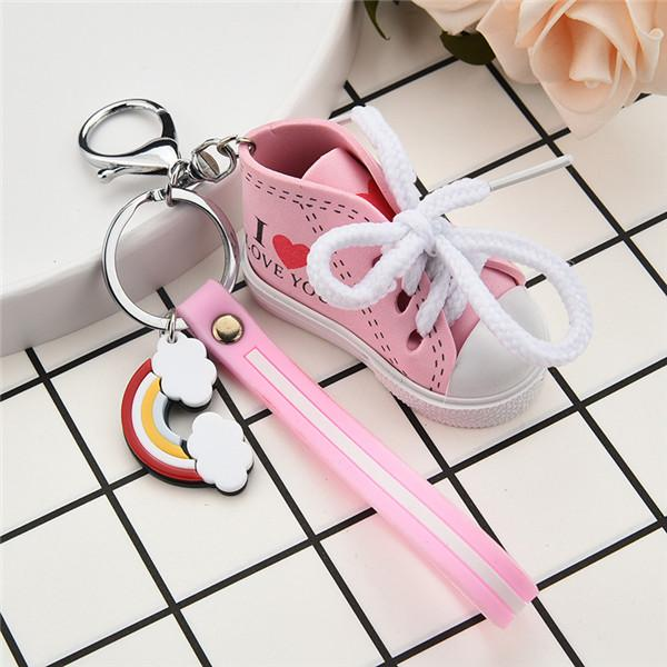 Mini Canvas Shoe Keychain Cartoon Keychain I love you couple Keyrring for Women Men