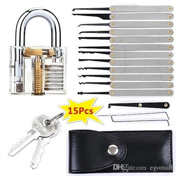 15pcs la serie de entrenamiento / bloqueo conjunto de habilidades Claro Práctica candado Herramientas cerraduras de llaves Herramientas Kits abierto rápido bloqueo de Aprendizaje