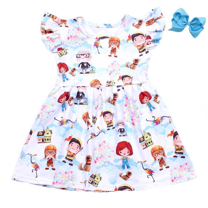 Été bébé filles habillées vêtements filles de bande dessinée enfants blancs habillent enfants milksilk robe filles boutique robes avec bowMX190912