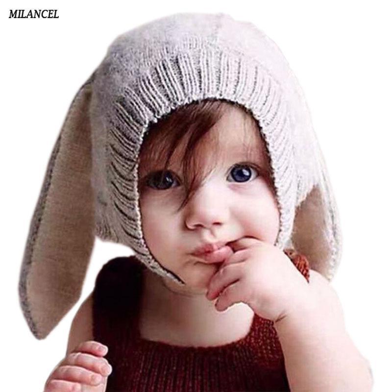 Bebek Tavşan Kulakları Şapka Bebek Yürüyor Sonbahar Kış Örme Kapaklar Çocuklar Için Bebek Bunny Beanie Şapka Aksesuarları Fotoğraf Sahne