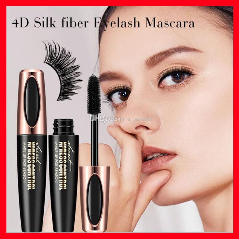 Maquillaje de ojos Macfee 4D fibra de seda latigazos del ojo del maquillaje a prueba de agua del cepillo de silicona cabeza Mascara alargamiento grueso del rimel