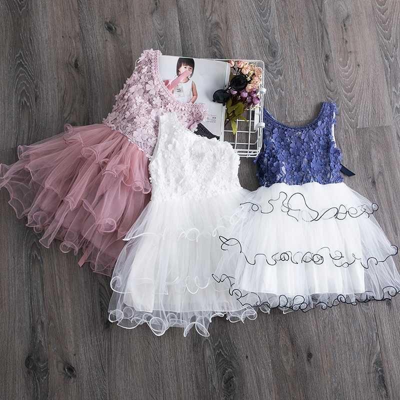 Robe d'été pour les enfants filles fleur princesse robe en dentelle Tutu Kids Party Robes Casual Wear Daily Baby Girl Vêtements