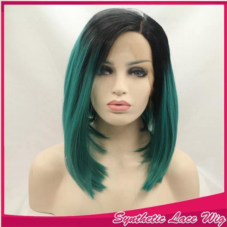 Mode Ombre Vert court Bob cheveux raides perruque synthétique avant de dentelle perruques résistant à la chaleur fibre de perruques Raie sur le côté pour les femmes noires