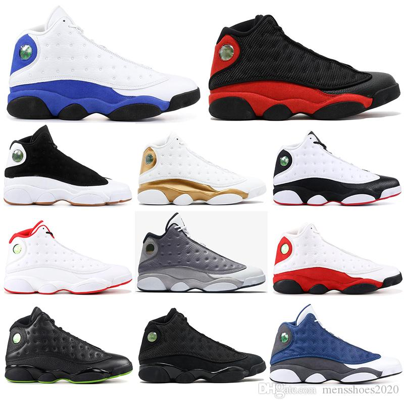High Quality 13 Bred Chicago Flint Atmosphere Grey Men Basketball Shoes 13s He Got Game Melo sports Sneakers With free socks SIZE 40-47