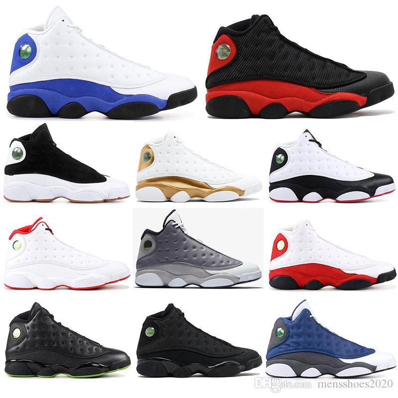 Nike AIR Jordan 13 ücretsiz çorap SIZE 40-47 ile Yüksek Kalite 13 Bred Chicago Flint Atmosfer Gri Erkekler Basketbol Ayakkabı 13s He Got Game Melo spor Spor ayakkabılar