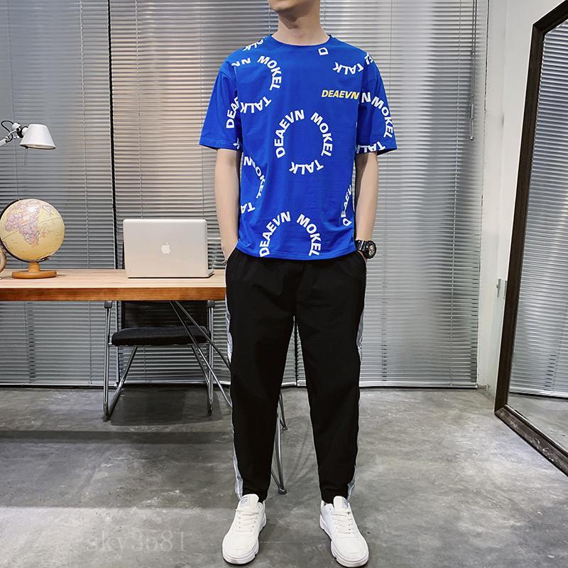 مصمم رجالي أزياء رياضية رسائل التطريز جيدة metail لL48 فاخر الصيف ملابس رياضية قصيرة الأكمام البلوز عداء ببطء سروال بذلات O-الرقبة