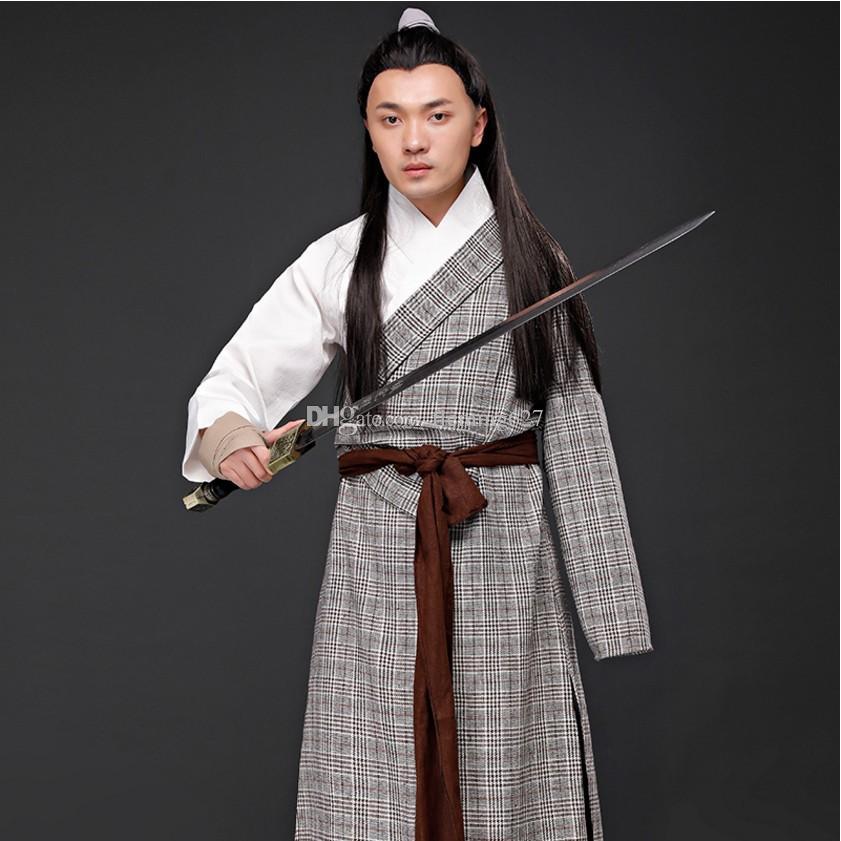 Hommes hanfu costume chinois ancien traditionnel mâle longue robe swordman vêtements TV Film Stage porter carnaval Performance Outfit