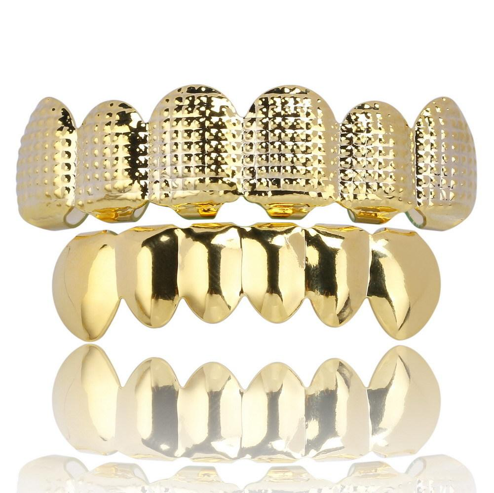 Hiphop Hip-hop Personage Gold Electroplate Tooth Set Bump Lattice Texture Hip Hop Set