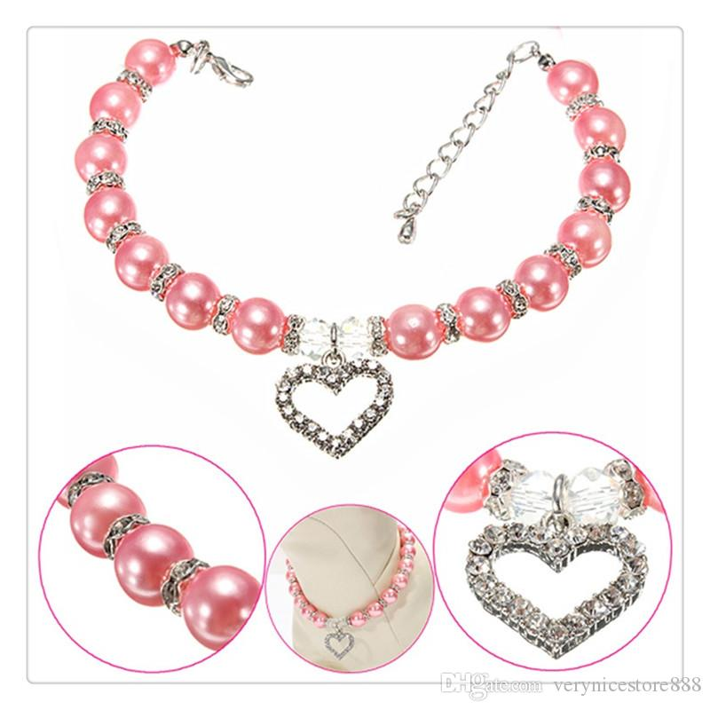 Pet Decor Collar Pearl Necklace Fashion Puppy Dog Cat Piggy Pendant Dogs Cats Collar Pet Accessories Perfect Best Gift
