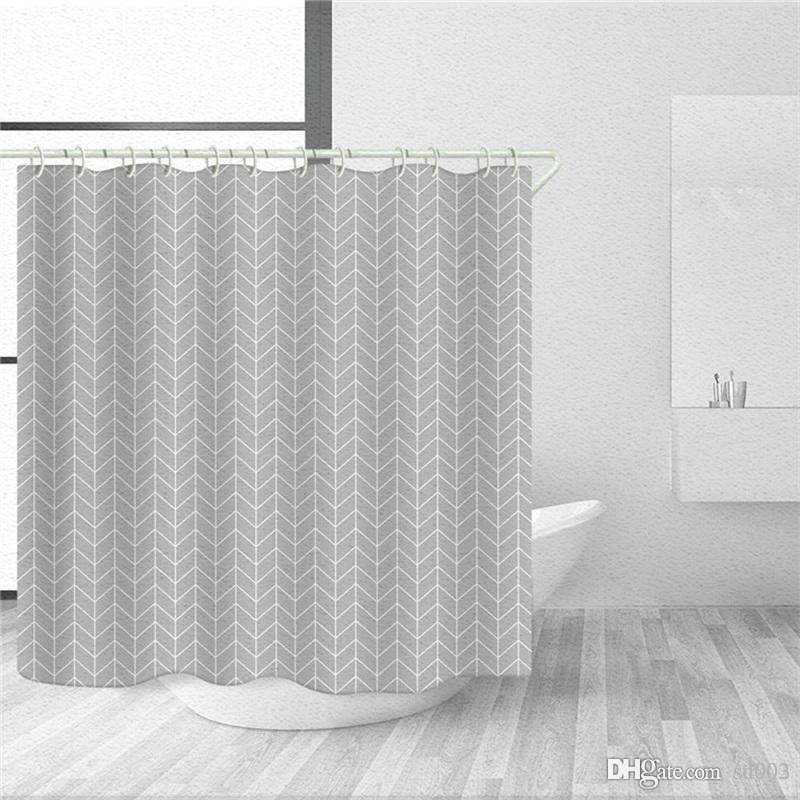 Rayures Concise fenêtre Rideaux polyester tissu de fibres Salle de bain Ensembles de rideau de douche Mildiou Preuve impression réactive Non Fading 10 2ty4b1
