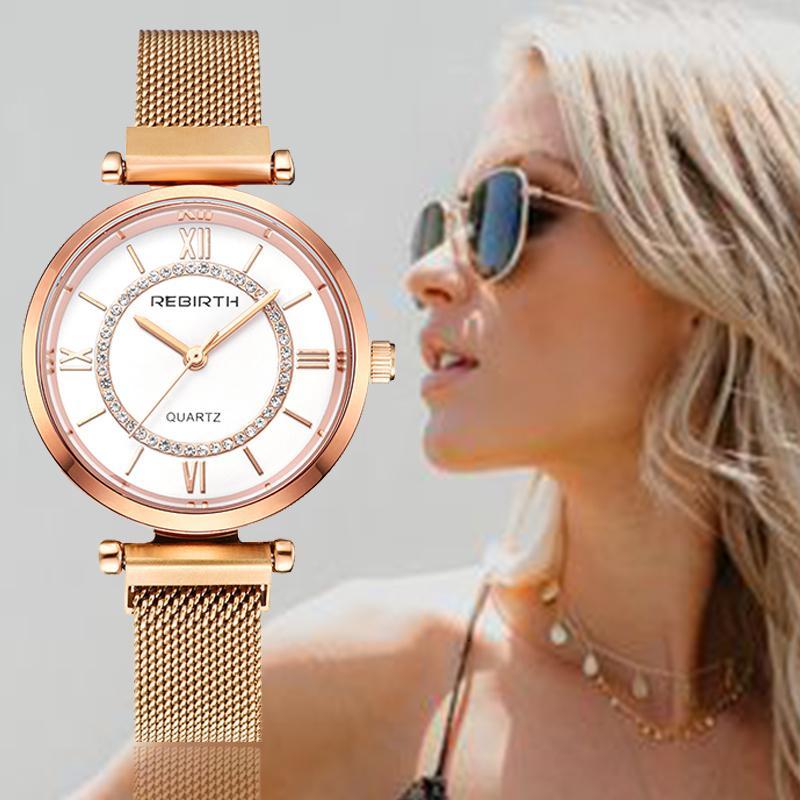 REBIRTH Women's Watch 2019 Rhinestone Women Bracelet Watch For Ladies Wrist Watch Simple Business Montre Femme Relogio Feminino Y191112