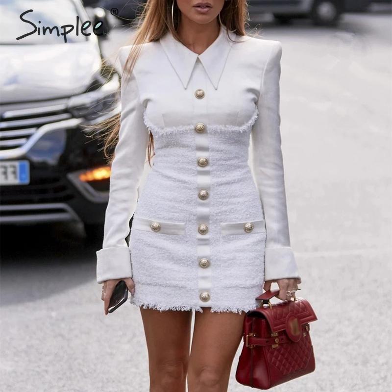 Simplee Streetwear vestido del remiendo oficina de la mujer de un solo pecho más el vestido elegante de las señoras del otoño chaqueta de mini bodycon