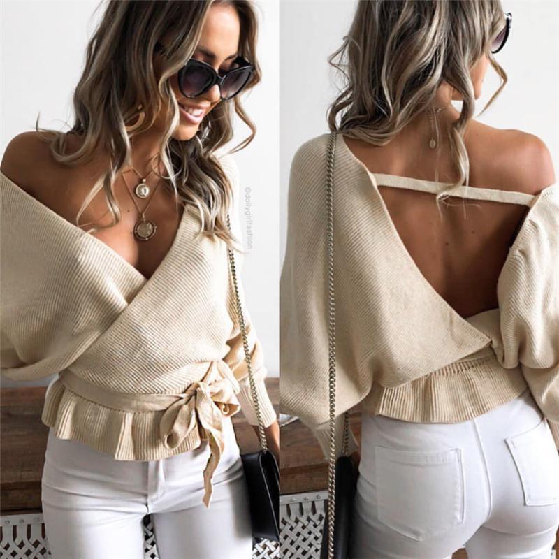 Women's Long Sleeve Wrap Shirt Tops women deep V Neck shirt Plain Backless Sexy Long Blouse