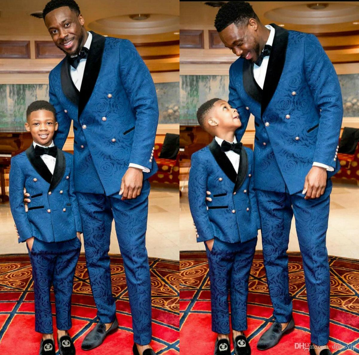 Black and Blue Boy Formal Suits Dinner Tuxedos Little Boy Groomsmen Kids Children For Wedding Party Prom Suit Formal Wear (Jackets+Pants)