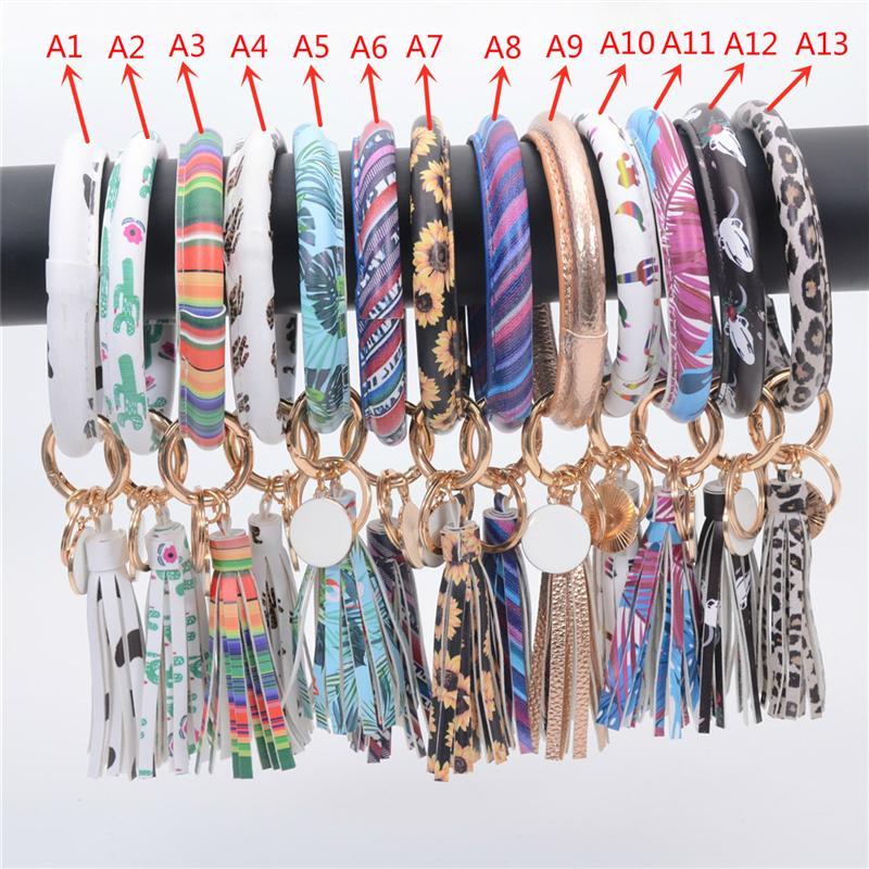 13 Styles Leather Wrap Tassels Bracelets Keychain Custom Wristlet Bracelet Tassel Keychain Multi-pattern Bangle Round Bangle Key ring