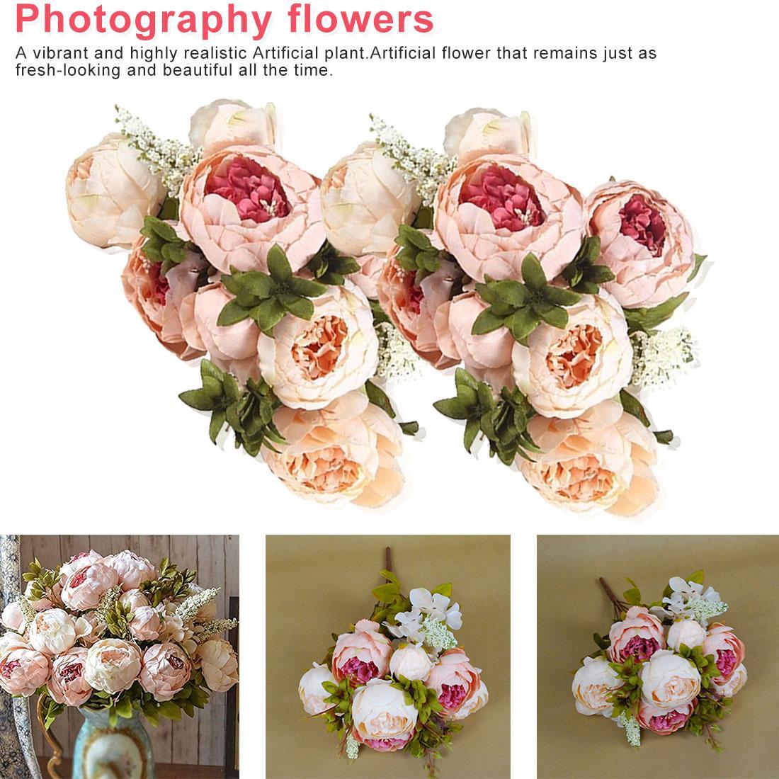 1pcs Europeia Artificial Peony decorativa do partido de seda falsos peônias flores para Home Hotel decoração DIY casamento coroa de decoração