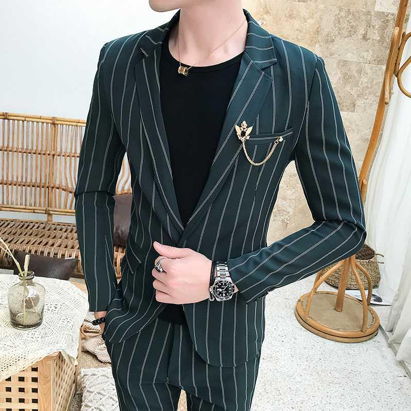 Азиатский размер 2020 нашивка печать мужского костюма Красивого Slim Fit Свадебного Groom Tuxedos костюм Пром 2 шт Повседневного бизнеса мужских костюмов