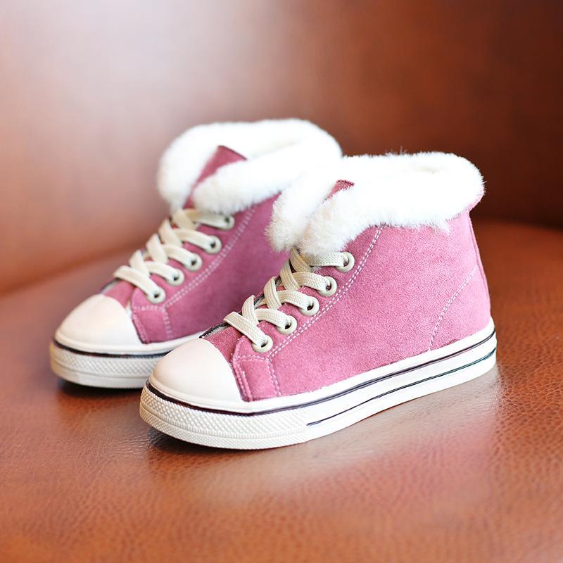 أحذية شتوية للأطفال القطن القطيفة بنات أحذية الكاحل الدفء أحذية جدي رياضة الصلبة اللون بنات حذاء رياضة حجم 26-35 SMG123