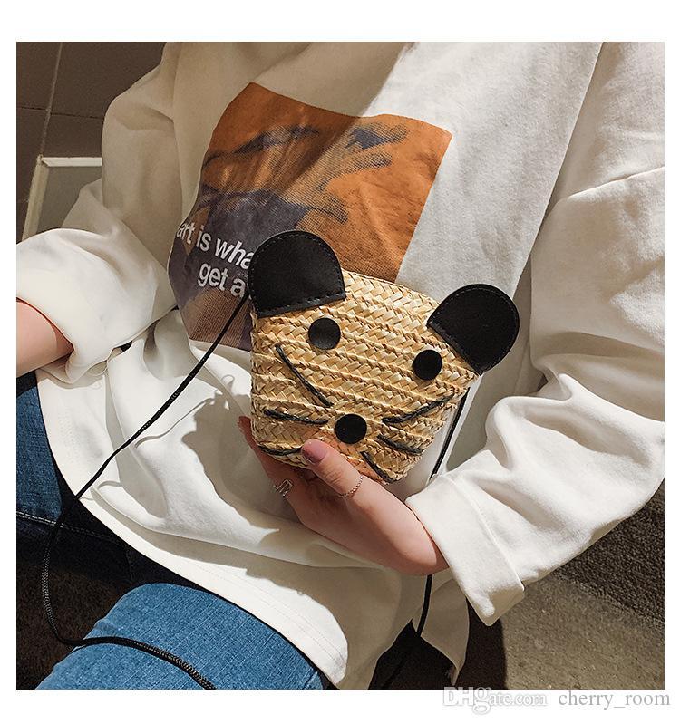 Acheter Nouvel été Dessin Animé Enfants Mini Sacs Mode Petite Souris Enfants Plage Messenger Bag Mignon Herbe Tissage Fille One épaule Sac Y1202 De