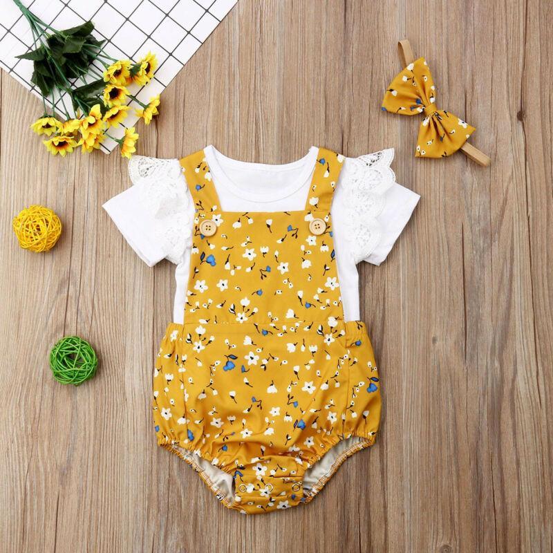 3PCS Yenidoğan Bebek Kız Giyim Romper + tulumları Şort + Çiçek 3PCS yazlık kıyafetler