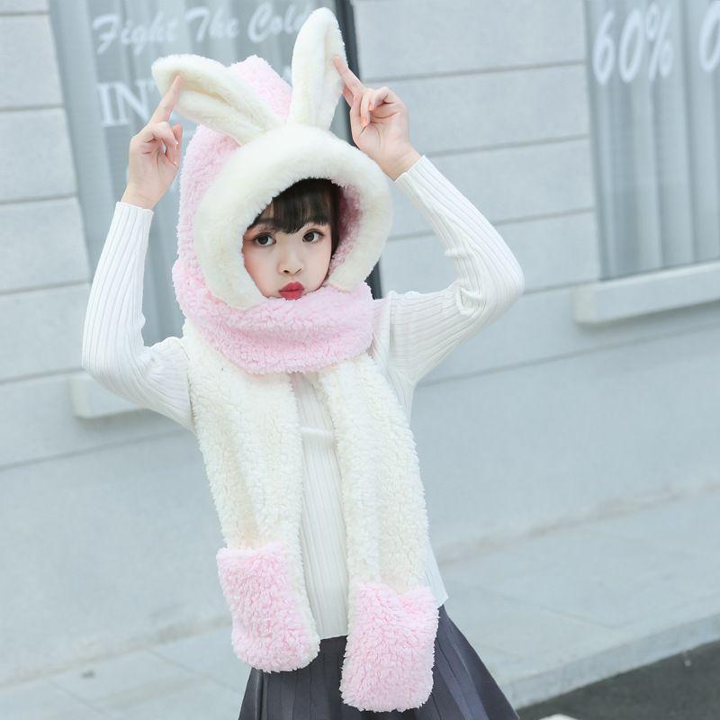 Atacado-BISM menina mistura de lã Hat 3 em 1 Hat / lenço / luvas quentes bonito