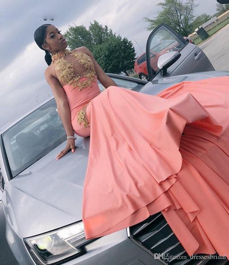 Sirène col haut robe de bal avec de l'or sexy corsage balayage Appliques train longs Party robes pour les filles noires de bal de 2019