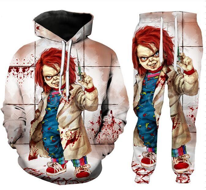 Les nouveaux hommes / femmes Halloween Terror Chucky 3D Print Mode Hip Hop Survêtements Crewneck Sweat-shirt et pantalon + Hoodies