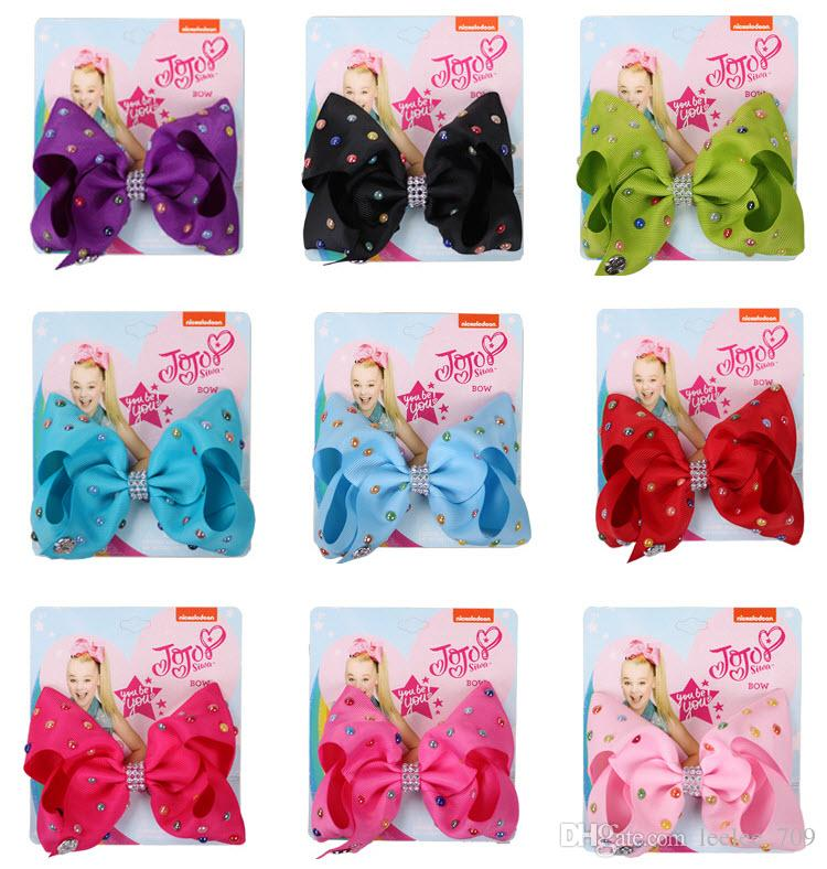 5 Inch Jojo Siwa Hair Bow Solid Color With Clips Papercard Metal Logo Girls Giant Rainbow Rhinestone Hair Accessories Colorful dots INS