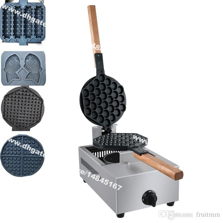 Envío gratis 5 en 1 GLP Gas huevo pescado belga Lolly Waffle Maker Machine Baker Iron
