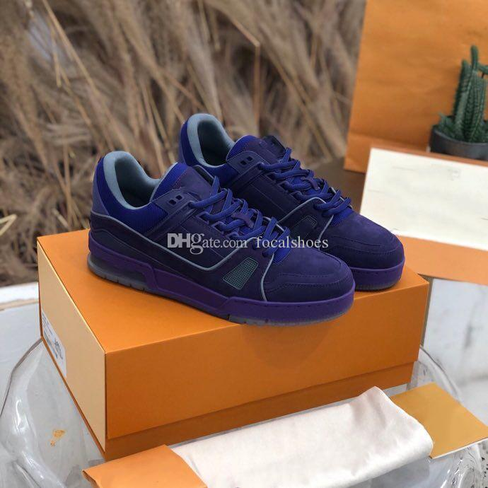 Veludo roxo Sneaker Shoes Triplo Homens Vintage Shoes Moda Luxo Sneakers couro liso Low Shoe Casual Top New Style Star