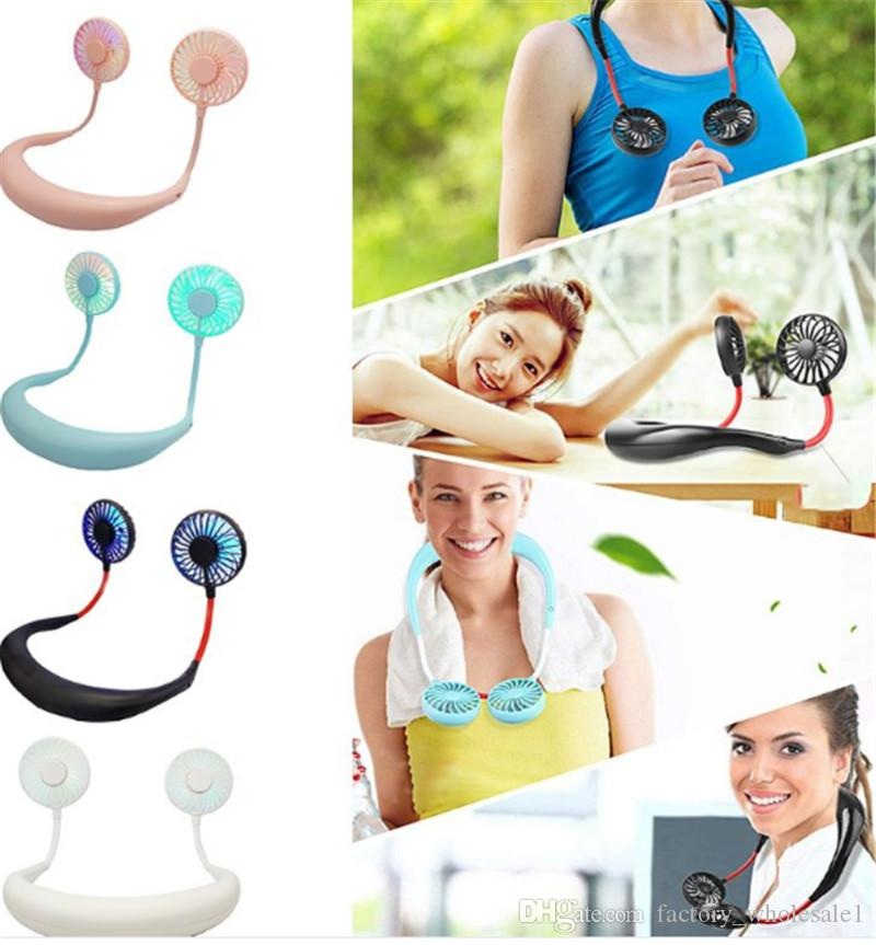 2019 New Mini Portable LED Light USB Rechargeable Fan Neck Hanging Style Dual Cooling Lazy Fan for Student Home School Use Supp