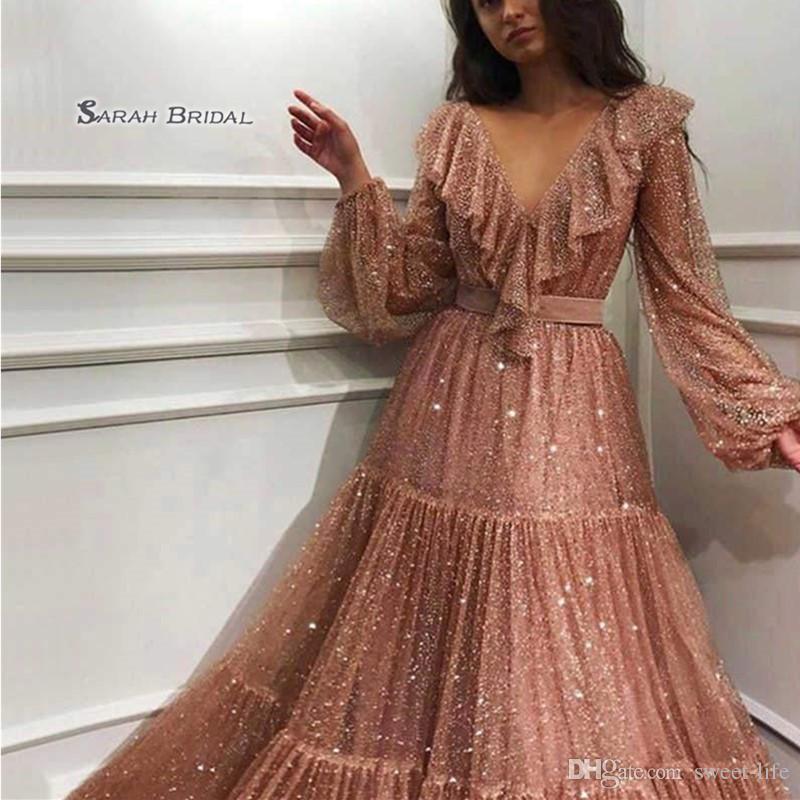 V-neck Tulle Long Sleeves Prom Dresses Vestidos De Festa Evening Wear In Stock Hot Sales High-end Occasion Dress