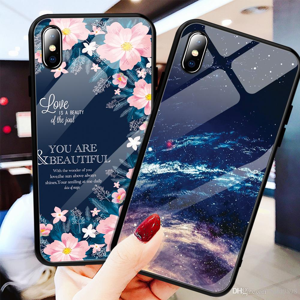 Case For iPhone XS MAX 6 7 8 Plus Phone Cases Clear Tempered Glass Pattern Cover For iPhone XS Max XR Thin Case