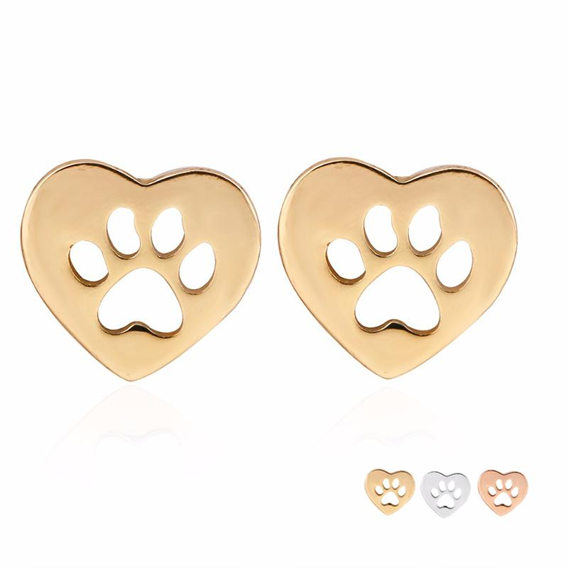 New Arrival Cute Hollow Dog Cat Paw Print in Heart Earring Silver Gold Rose Gold Color Copper Material For Fashion Women Jewelry EFE074