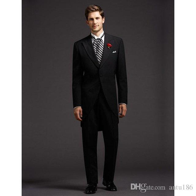 Şimdi popüler yeni uzun erkek takım elbise iki parçalı takım elbise (ceket + pantolon) düğün damat Groomsmen elbise erkek moda beyefendi mizaç takım elbise