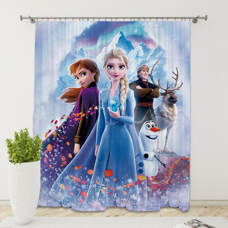 De Nova digitais impressas escovado cortinas sombreamento congelado 2 Princesa cortinas personalizadas digitais