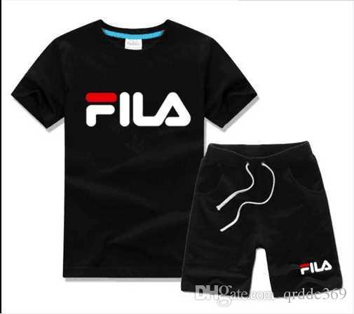Envío gratis caliente nueva primavera de lujo diseñador boy girl camiseta pantalones de dos piezas traje niños marca niños 2pcs algodón conjuntos