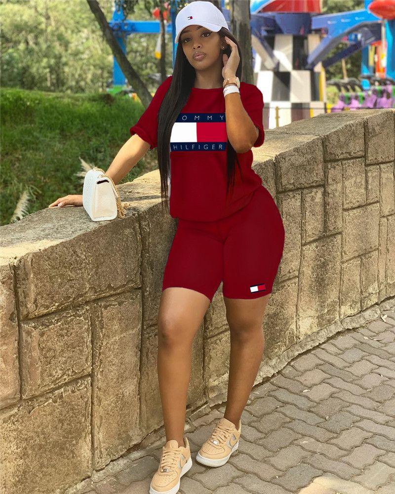 Mulheres designer de marca 2 peça set outfit aptidão running t-shirt gola curta bodycon leggings acima do joelho roupas de verão plus size 522
