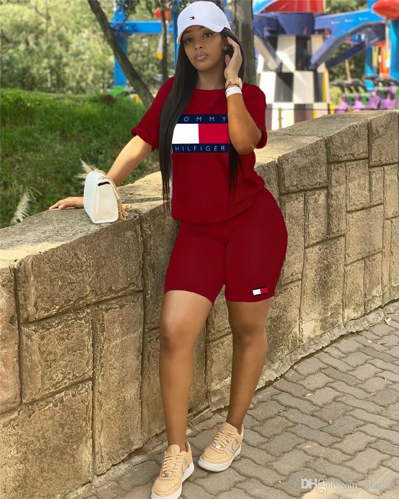 Diseñador de la marca de las mujeres conjunto de 2 piezas conjunto de fitness, camiseta para correr, pantalones cortos con cuello redondo, bodycon, leggings por encima de la rodilla, ropa de verano más el tamaño 522