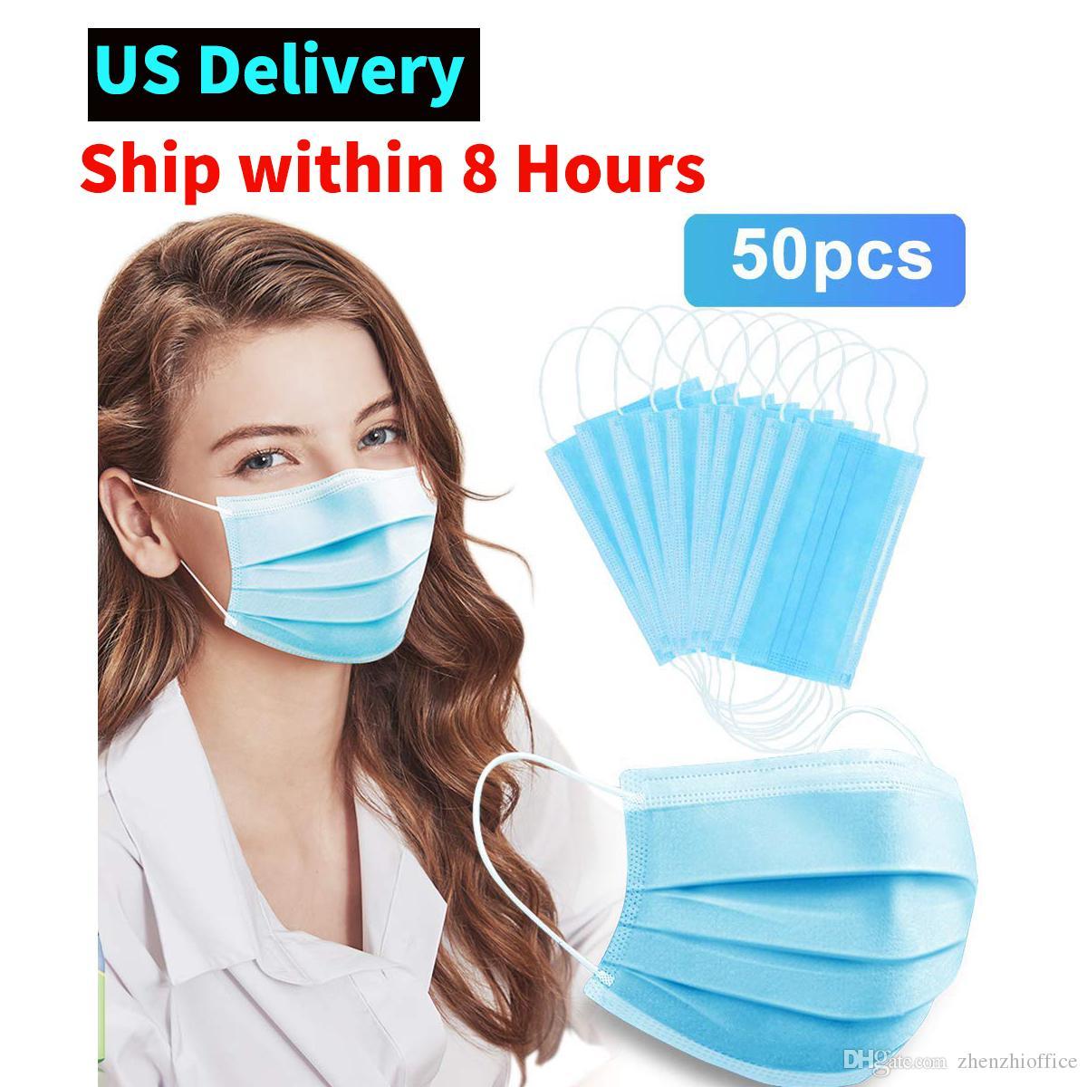 (Acción en los EEUU) Máscara facial 50PCS desechable, filtro de 3 capas máscara suave y cómodo para la Protección de Seguridad Personal