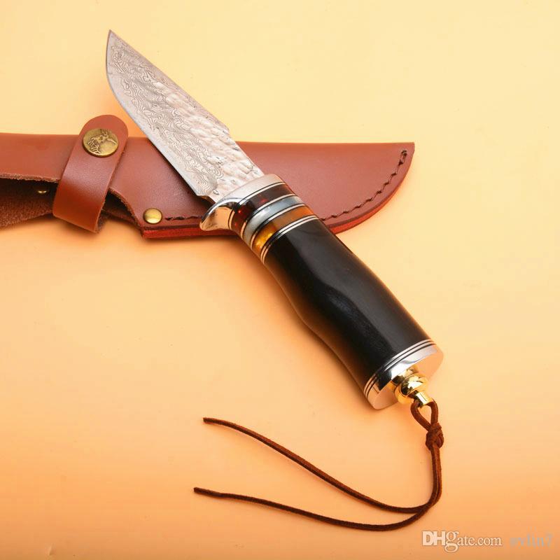 Spedizione veloce Sopravvivenza all'aperto Sopravvivenza Dritto Coltello da caccia VG10 Damasco in acciaio Drop Blade Blade Blade Ebony Maniglia a lama fissa