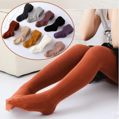 Kids Leggings Tight Pants Girl Cotton knit Pantyhose Soft Cotton Knitting Dance Elastic Pantyhose Kid British Style Tights WY25