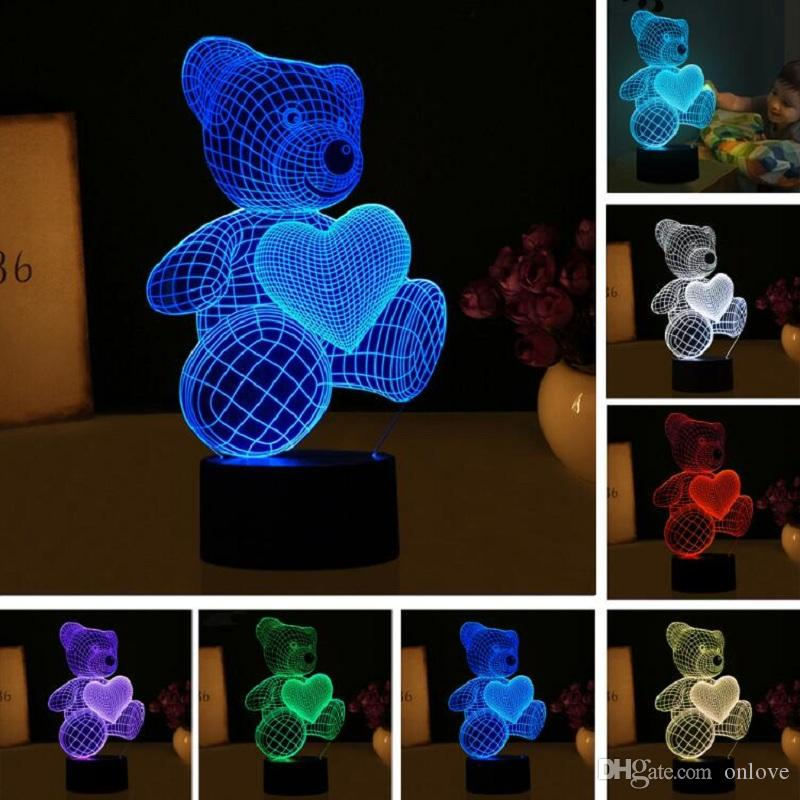 Kid Noël Jouets cadeaux 3D Cartoon Love Heart Ours lampe de table USB Forme LED 7 couleurs Lampe de bureau Night Light XD22151