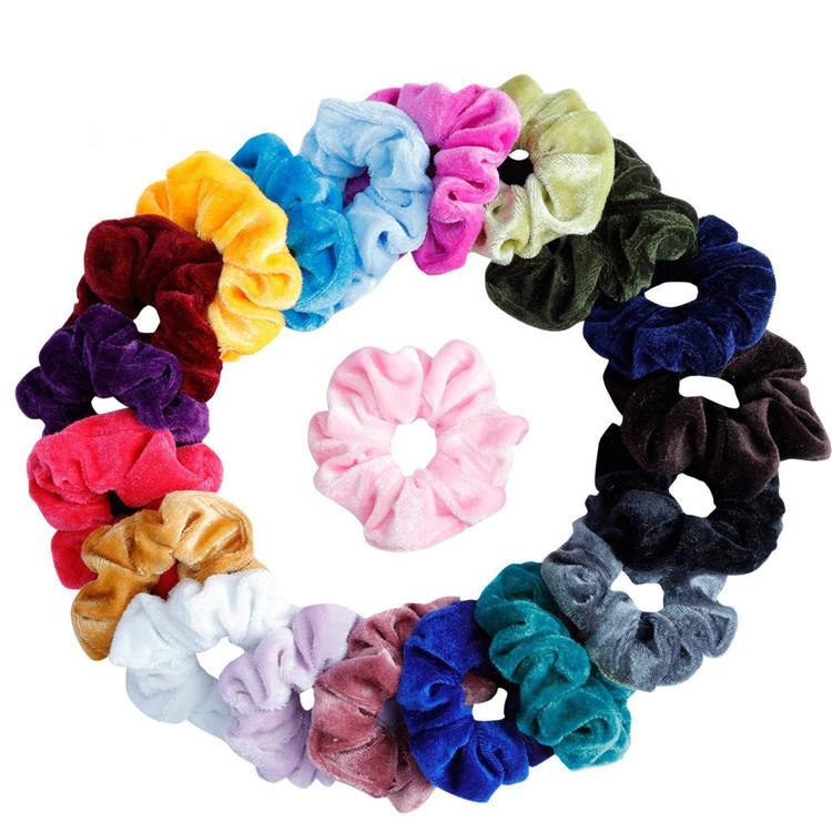 Women Elegant Velvet Solid Elastic HairBands Ponytail Holder Scrunchies Tie Hair Rubber Band Lady Hair Accessories 20 Colors Set