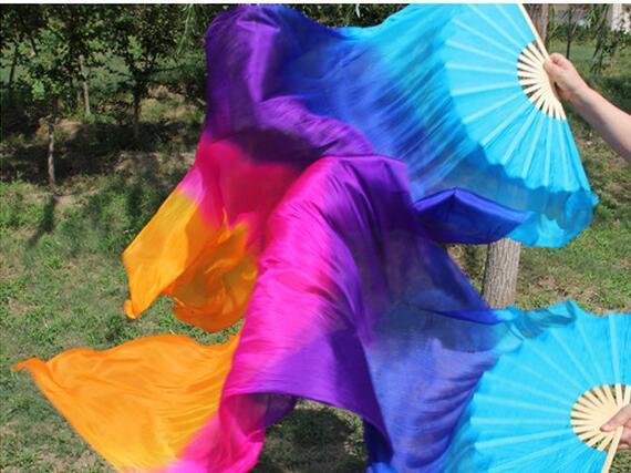 어린이 댄서 연습 쇼 액세서리 무료 배송 중국 전통 실크 밸리 댄스 팬 베일 대나무 접는 팬 120cm