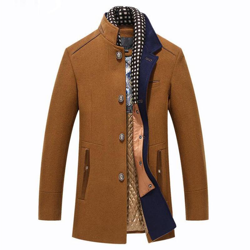 Luxo Homens Windbreaker Lã Casaco de Inverno Cashmere Abrigo Hombre Casual Longo Slim Fit Trench jaket Grosso destacável Scarf Overcoat