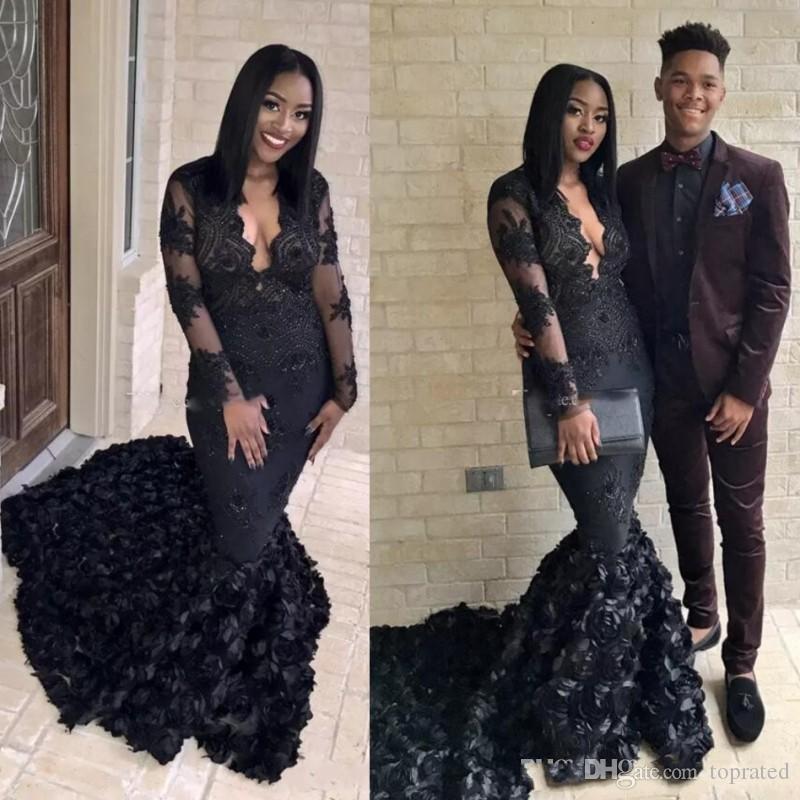 Magnifique Black Mermaid Prom Dresses 2K19 3D Rose Balayage Train Robes De Soirée Afrique du Sud V Cou Pure Manches Longues Robe de soirée formelle