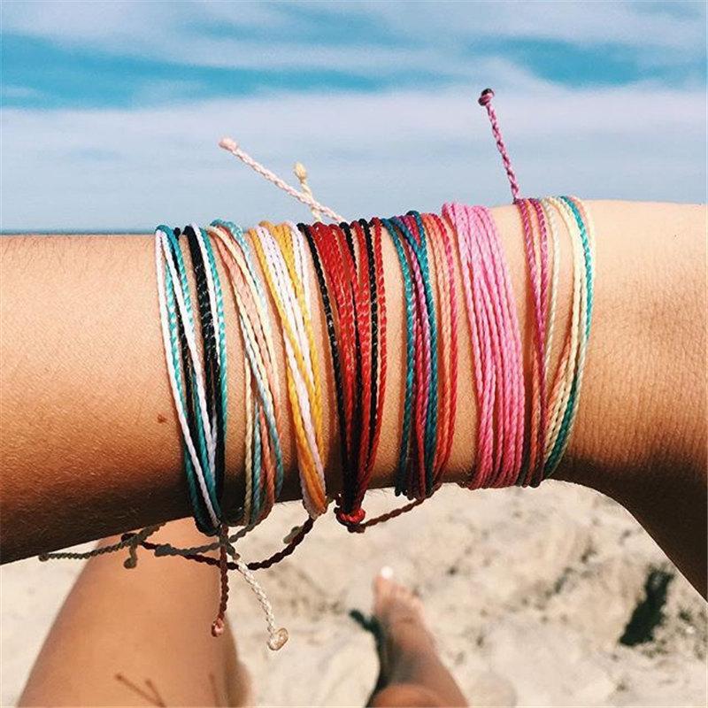 Pulseira ajustável Linha Wax Waterproof Pulseira de várias cores Handmade Woven Multi-color por Mulheres Bracelet Jóias