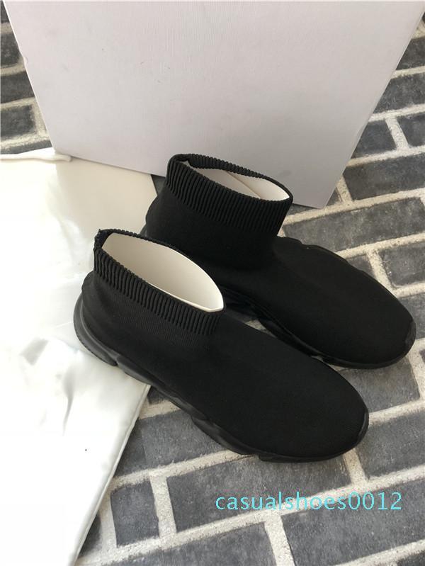 Sapatos da moda HOT Designer Speed Trainer Luxo Mens Womens Casual Shoes Red Plano de moda malha meias velocidade Sneakers Moda Trainers c12